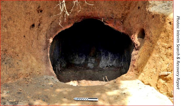 This manmade cave and charcoal trench is located inside the crash site perimeter.