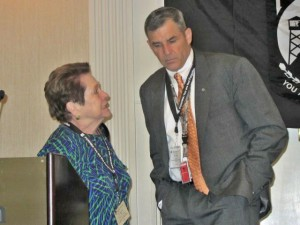 A discussion between League Chair Ann Mills-Griffiths & DPAA Director Michael Linnington during the 2015 annual Vietnam War meeting for MIA families.