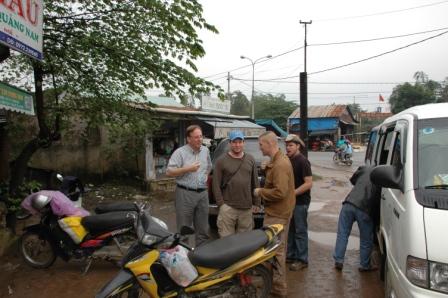 Doug, Brett, Ski & Craig outside restaurant for lunch stop
