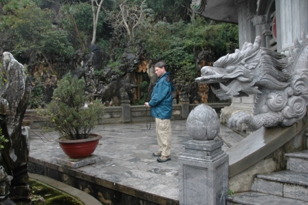 Brett enjoying artwork on Marble Mountain
