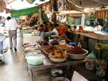 Many of Vietnam\'s dishes are spicy, and this stall had the hot ingredients.