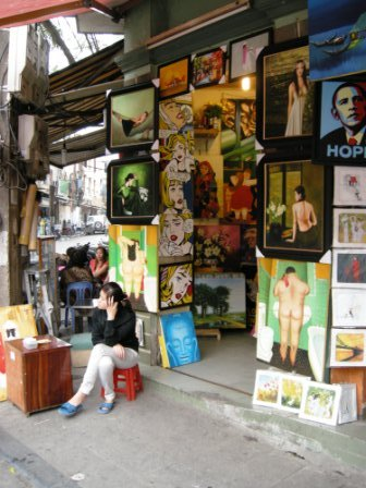 Artwork is sold mostly to tourists in Hanoi