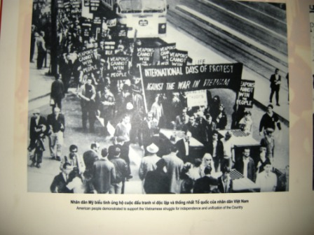 Images of American protesters are displayed in the prison museum