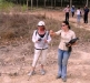 Anthropologist Kristen Baker gave Elaine a quick lesson on digging for an excavation.