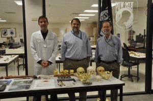 Sean Tallman, anthropologist; Tom Holland, PhD, Scientific Director, CIL; Bob Mann, PhD, Deputy Scientific Director, CIL.  This photo was taken Jan 2010, during a visit to JPAC Hawaii to learn more about the identification process.