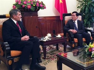 Hanoi - DPAA Director Michael Linnington meets with Vietnam Vice-Minister of Foreign Affairs Mr. Ha Kim Ngoc during his visit to Southeast Asia. Linnington visited DPAA detachments in Bangkok, Thailand; Vientiane, Laos; and Hanoi, Vietnam, and met with senior U.S. officials in each country, as well as senior host nation counterparts. He also met with U.S. Embassy staff and Cambodian counterparts in Phnom Penh. Photo by Lee tucker